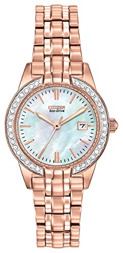 Citizen Watch Silhouette Crystal Women's Quartz Watch with White Dial Analogue Display and Two Tone Stainless Steel Gold Plated Bracelet EW1683-65D