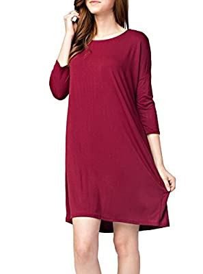 Elbow Sleeve Boat Neck Bamboo Blend Dress