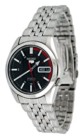 Seiko 5 #SNK375 Men's Stainless Steel Black Dial Self Winding Automatic