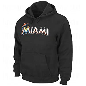 MLB Miami Marlins 300 Hitter Cooperstown Change Up Hooded Fleece, Black by Majestic