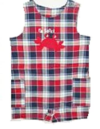 Carter's Red Plaid Crab Sunsuit Romper 3 Months