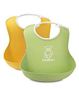 Babyjorn Soft Bib, Green/Yellow, 2 Count