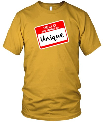 Hello, My Name is Unique Fine Jersey T-Shirt, Gold, S