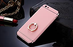 iPhone 6 Case,Inspirationc® 3 in 1 Luxury Ultra Thin Hard Protective Case with 360 Degree Rotating Ring Kickstand for iPhone 6/6S 4.7 Inch--Pink