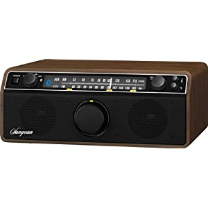 Sangean WR-12BT AM/FM/Bluetooth/AUX Analog Wooden Cabinet Receiver (Dark Walnut)