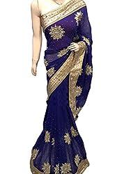 Blue Designer Georgette With Embroidered Saree.