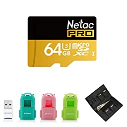 Netac 64G U3 SDXC Micro SD Card and USB3.0 Super Speed Card Reader with 3 Skins and Povee Memory Card Carrying Case