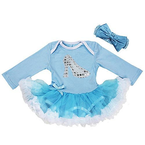 Baby Silver Cinderella Shoes Costume Bodysuit Tutu Headband Set
