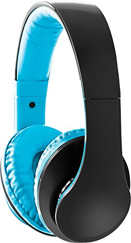 Sharper Image Shp2200Bl 3.5 Mm Ultra Bass Headphones With Mic, Fabric Cable Blue