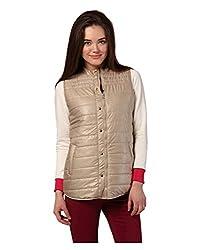 Yepme Marina Sleeveless Jacket - Beige -- YPMJACKT5033_XS
