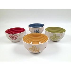 MONTEMAGGI Set di 4 ciotole colorate e decorate con fiori e pallini   Valutazione del cliente