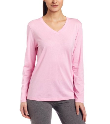 Hue Womens Long Sleeve Sleep V-neck Sleep Tee