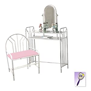 New White Metal Finish Make Up Vanity Table With Mirror Li