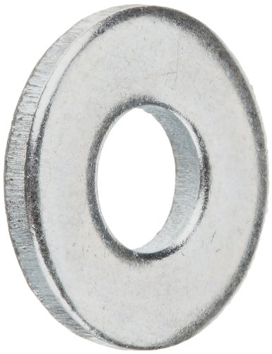 Steel Flat Washer, Zinc Plated Finish, ASME B18.22.1, No. 6 Screw Size, 5/32″ ID, 3/8″ OD, 0.049″ Thick (Pack of 100)