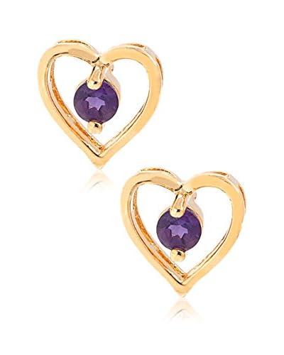 Pori Jewelers 18K Gold-Plated Amethyst Heart Stud Earrings