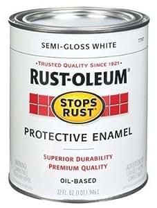 Rust Oleum Stops Rust Semi Gloss Paint Oil Base Exterior Interior Semi Gloss White 1 Qt Spray