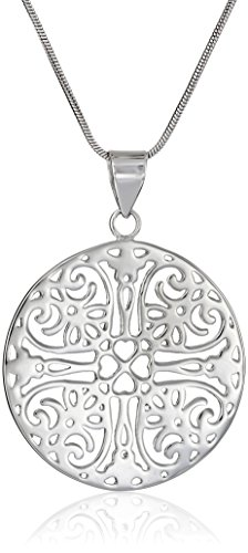 """Sterling Silver Filigree Circle Pendant Necklace, 18"""""""