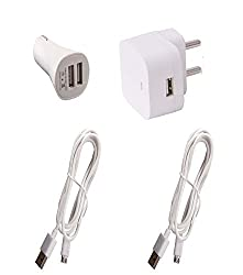 Dhhan Combo of 1.5A Wall Charger,Car Charger and Pack of 2 Cables For vivo X5 max