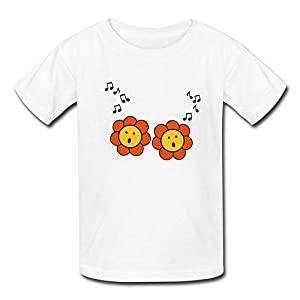 Short-sleeve O Neck Pre-cotton Sunflower Singing Music Kids' T-Shirt - Five Sizes