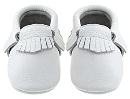 Sayoyo Baby White Tassels Soft Sole Leather Infant Toddler Prewalker Shoes (18-24 months, White)