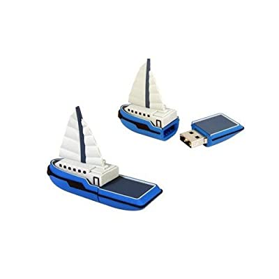 YACHT SAILING BOAT in RED 8GB 2.0 USB Memory Stick / Flash Drive. (Silica Gel). Presented In A GIFT BOX from NUT
