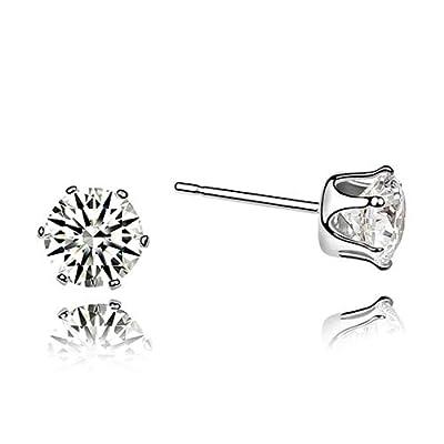 Rarelove Swarovski Elements White Crystal Round Diamond Stud Earrings