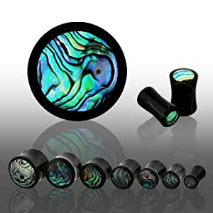 Natural Buffalo Horn Double Flare Plugs with Abalone Shell Inlay - 2G (6.5mm) - Sold as a Pair