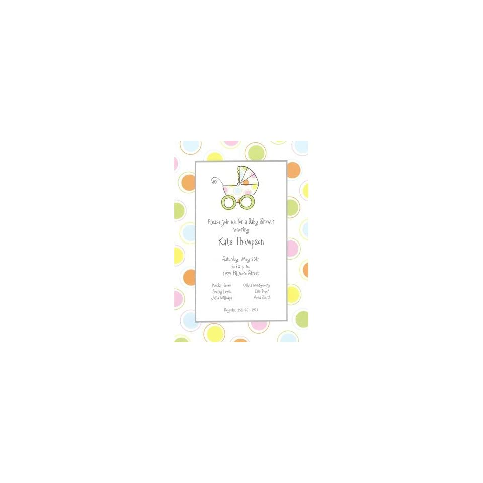 Stroller, Custom Personalized Baby Girl Shower Invitation, by Inviting Company