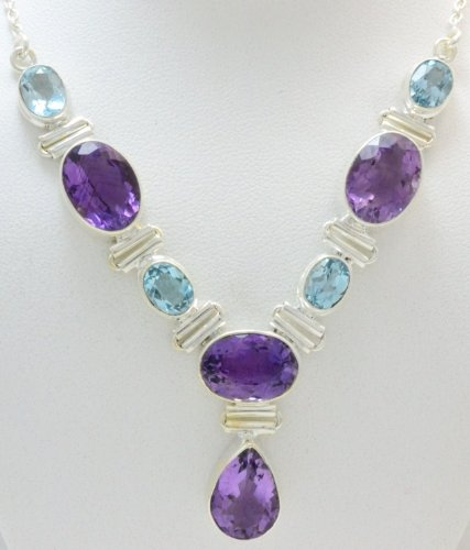 Amethyst, Blue Topaz 925 Silver Jewelry Handmade Necklace