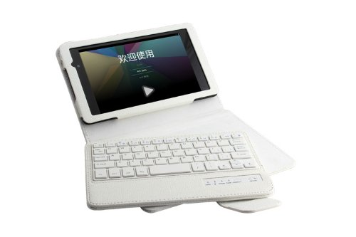 Newstyle Google New Nexus 7 Fhd 2Nd Gen Case - Wireless Bluetooth Keyboard Cover Case For Google Nexus 2 7.0 Inch 2013 Generation Android 4.3 Tablet - White