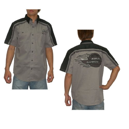 Mens Harley Davidson Button Down Short Sleeve Shirt – Grey & Black (Size: M)
