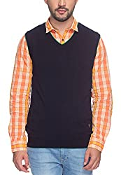 Raymond Men's Synthetic Sweater (8907252533824_RMWY00447-B8_42_Blue)