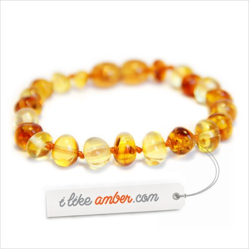Amber Teething Anklet Bracelet - size from 13 to 18 cm - 100% Genuine Baltic Amber - Top Quality on Amazon + Free Organza Gift Bag - Baby Child