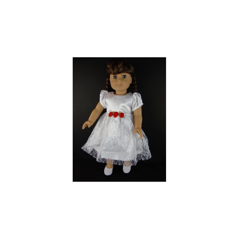 A White Party Dress with Little Red Flowers At the Waist for 18 Inch Doll Like the American Girl Dolls