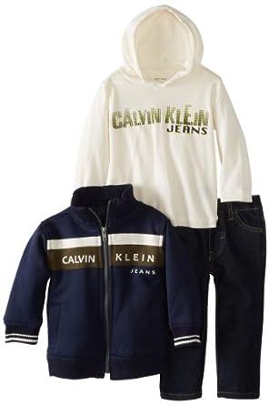 (新品)男宝三件套Calvin Klein Baby-Boys Infant Jacket Tee And Jeans$30.93