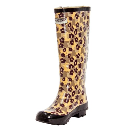Women Rubber Rain Boots with Cotton Lining, Safari and Animal Prints (Animal Camo, 8) (Camo Rain Boats compare prices)