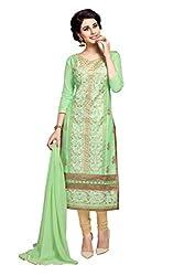 DnVeens Green Self Design Salwar Suit Dress Material