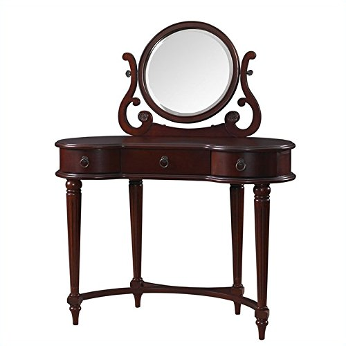 Powell Bombay Empress Vanity and Mirror in Vintage Mahogany american furniture bedroom dresser vanity makeup mirror combination dressing table
