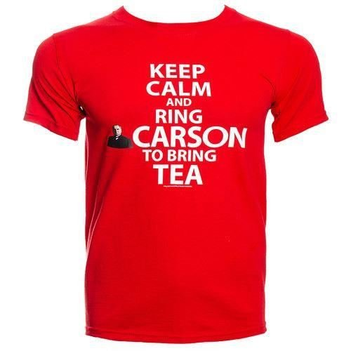 Official Downton Abbey T-Shirt 'Keep Calm And Ring Carson To Bring Tea' (Red) (Xl)