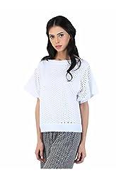 Muah White Long Sleeve Tops:-Muah-SS16021-S