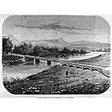 Grabado antiguo (1869) - Xilografía - Puente Sobre El Rio Guadalhorce En La Vega De Málaga (15x20), Desconocido...