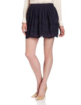Twenty8Twelve Women's Mildred Embroidered Linen Flared Skirt, Navy, 2