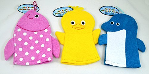 Set of 3 Terry Cloth Hand Puppet Wash Cloths / Bath Mits for Kids - Includes a Dolphin, Fish, and Baby Chick - 1
