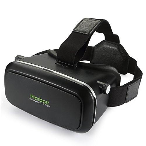 iHarbort® Google cartón casco 3D VR Glasses realidad virtual VR gafas con diadema ajustable de 4.0 a 6.0 pulgadas Smartphones (iPhone 6 6 Plus, Samsung Galaxy S7 etc.) - negro