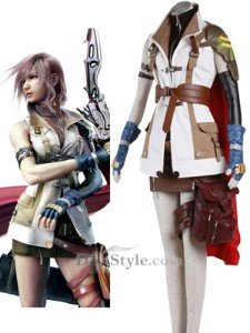 Japanese Anime Final Fantasy XIII Deluxe Cosplay Costume - Lightning Outfit Set