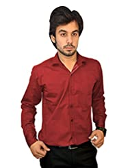 Mc-John Men's Slim Fit Formal Solid Maroon Color Cotton Blend Dress Shirt