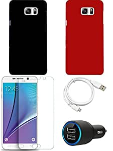 NIROSHA Tempered Glass Screen Guard Cover Case Car Charger USB Cable for Samsung Galaxy Note 5 - Combo