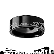 buy Hoth Battle Star Wars Alliance Galactic Imperial Invasion Atat Atst Black Tungsten Engraved Ring - 4Mm - 12Mm