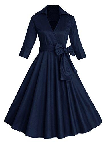 3/4 Sleeve Classy V Neck Audrey Hepburn Style 1940's Rockabilly Dress (Navy,S)