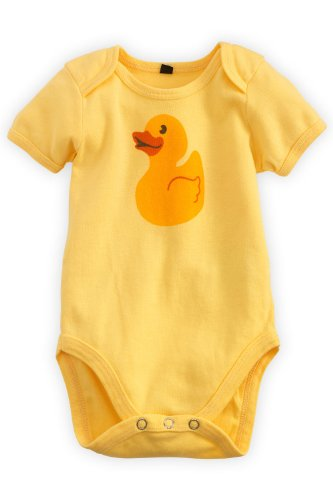 Green 3 Apparel Rubber Ducky Organic Baby Playsuit front-137759